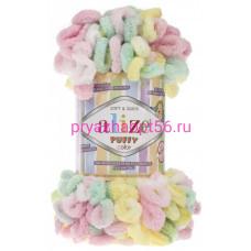 Alize PUFFY COLOR 5862 лимон/роз/мята