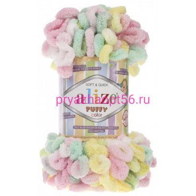 Alize PUFFY COLOR 5862 лимон/роз/мята