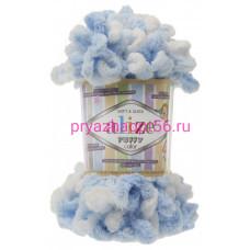 Alize PUFFY COLOR 5865 белый/голубой