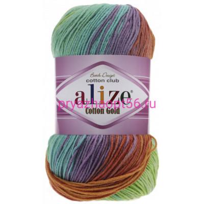 Alize COTTON GOLD BATIK 4530 бирюза/зел/оранж
