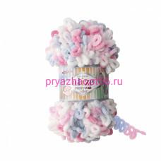 Alize PUFFY FINE COLOR 5945 (белый-розовый-серый)