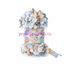 Alize PUFFY FINE COLOR 5946 (голубой-беж-белый-серый)