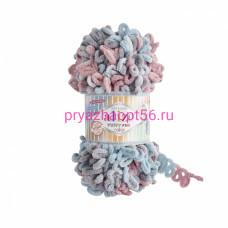 Alize PUFFY FINE COLOR 6041 (серый-розовый-белый-бирюза)