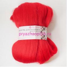 Шерсть для валяния ПТонк 06-красный (Пехорка)
