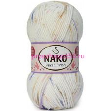 Nako MASAL RENKLI  32095 белый-василек-коричневый-розовый
