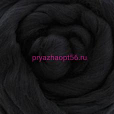Гребенная лента полутонкая шерсть 0140 - черный (Троицкая)