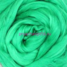Гребенная лента полутонкая шерсть 0723 - яркая зелень (Троицкая)