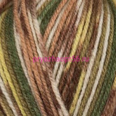 YarnArt CRAZY COLOR 159 зел/коричн/бел