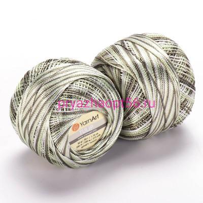 YarnArt TULIP 451 бело-зеленый меланж